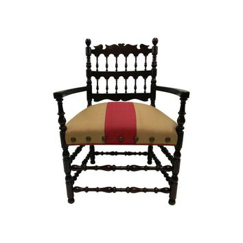 Pre-owned Spanish Vintage Renaissance Throne Chair