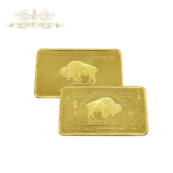 999 Gold Clad 24k Bullion Bar Buffalo