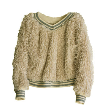 Women faux fur sweatshirt pullover tulle keyhole gloves set tratgirl