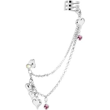 Pink Aurora Gem Silver Hearts Ear Cuff Chain Post Earring