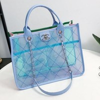 Chanel Trending Women Stylish Handbag Crystal Jelly Package Transparent Bag Inclined Shoulder Bag Blue I12100-1