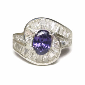 Vintage 90s Amethyst Cocktail Ring Size 6