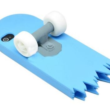 Leegoal Skyblue 3D Skateboard Cartoon Silicone Stand Skin Case for iPhone 4 4S 4G