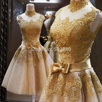 Best Stunning Luxury Short Homecoming Pageant Gown Appliques Customized Gold Lace short Prom Cocktail Party Dresses