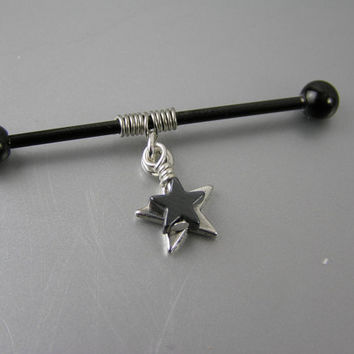 "Hematite & Silver Stars Coiled on Anodized Industrial Bar Barbell Piercing 14G gauge 1-1/2"" 38mm 1-3/8"" 35mm Earring Jewelry Goth Punk"