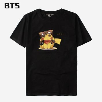 BTS Poket Monster Cotton T-shirt Men Summer Hip Hop Tee Shirt Homme Print Casual  Japanese Anime T Shirt Men Plus SizeKawaii Pokemon go  AT_89_9