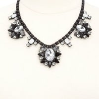 Matte Metal & Sparkly Stone Statement Necklace