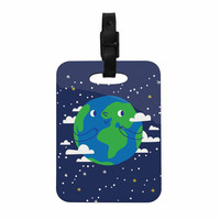 "Kess Original ""Happy Earth"" Blue Green Decorative Luggage Tag"