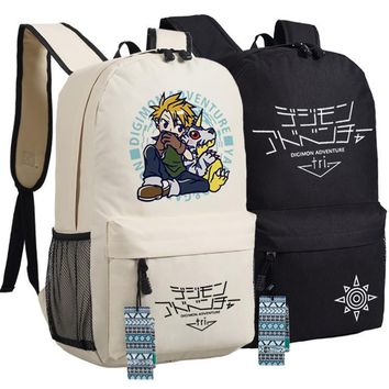 Men Women Japan Anime Digital Monster Digimon Adventure Tri Gabumon Backpack Bag School Shoulder Travel Book Bag