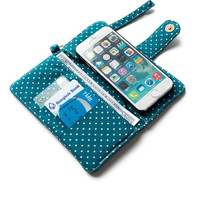 POLKA DOT WALLET deep green iPhone wallet Dark green PolkaDot Card Holder iPhone Case iPhone Sleeve Pouch Samsung Galaxy s4 Galaxy s5 Note 4