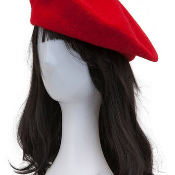 Red Woolen Cloche Hat