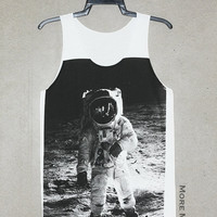 Astronaut Edwin Aldrin On Lunar Singlet Vest Tunic Tank Top Sleeveless Shirt Women Indie Punk Rock T-Shirt Size S-M