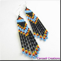 Native American Beadwork Seed Beaded Blue Black Earrings
