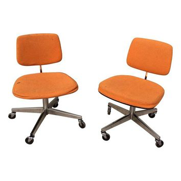 Pre-owned Mid-Century Style Orange Swivel Office Chairs