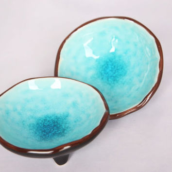 Ocean blue modern little trinket bowls, gorgeous soap dishes or miniature serving bowls