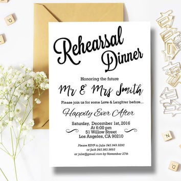 Black and White Rehearsal Dinner Invitation in a very attractive and modern calligraphy. Modern wedding invitations - DIY Party Invitation