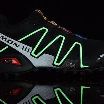 PEAPON3V Salomon Speedcross 3 CS. Men's Running Shoes Sport Outdoor Trainers. Glow In The Dark. Black & White