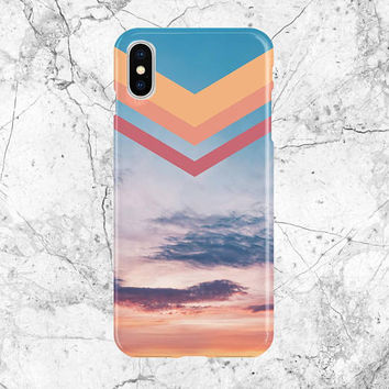 Phone Case - iPhone X case - Google Pixel II case - Tough Case - Samsung Galaxy s8 Case - Chevron Pastel Skies - Cotton Candy Sunset