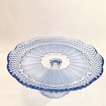 Blue Glass Cake Stand, Gorham Emily's Attic Cake Stand, Blue Hobnail Glass Cake Plate