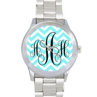 Monogrammed Stainless Steel Personalized Watch - Chevron