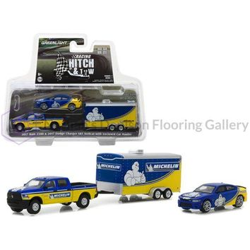 2017 Ram 2500 and 2017 Dodge Charger SRT Hellcat Michelin Tires with Enclosed Car Hauler Racing Hitch & Tow Series 1 1/64 Diecast Models by Greenlight