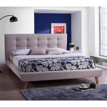"""Jude"" MCM Platform Bed Frame with Beige-Grey with Tufted Headboard"