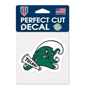 "Licensed Tulane Green Wave Official NCAA 4"" x 4"" Die Cut Car Decal Tulane by Wincraft KO_19_1"