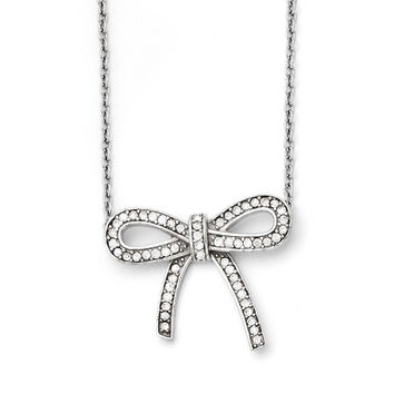Stainless Steel Crystal Polished Bow with 1.75in ext. Necklace SRN1448