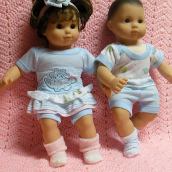 "American Girl BITTY TWINS clothes Bitty Baby clothes ""Dino Pals"" (15 inch) Boy and Girl Twins Set outfits pastel blue dinosaurs"