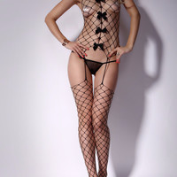 Black Bow Tie Sheer Bodystockings