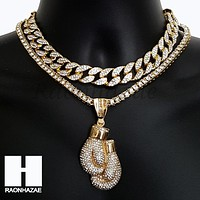 Hip Hop Iced Out Premium Boxing Glove Miami Cuban Choker Tennis Chain Necklace E