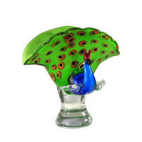 Dale Tiffany AS12274 Peacock Glass 10.25-Inch Perfume Bottle Sculpture