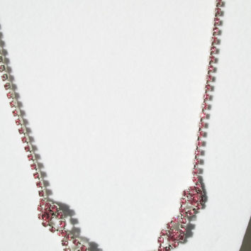 Fall Jewelry Sale Gorgeous Pink Rhinestone Silver Necklace Vintage Antique Flapper Style