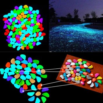 5pcs lot Glow In The Dark Pebbles Stone Home Decor Walkway Aquarium Fish Tanks