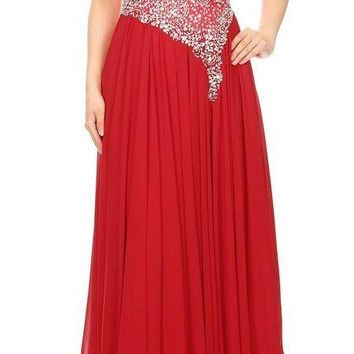 V-Neck Embellished Long Prom Dress Red