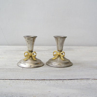 Art Deco Candlestick Holders, Gold Bow Silverplate Metal Short Candlesticks, Vintage Wedding Table Decor, Victorian Dining Downton Abbey