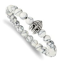 Stainless Steel Spartan Warrior Helmet Charm White Howlite Stretch Bracelet