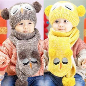 Winter Warm Baby Boys Girls Hat Scarf Set Cute Knitted Cotton Hats for Toddlers Cartoon Owl Hats For 1 to 4 Years