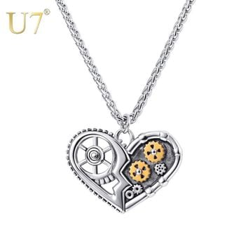 U7 Steampunk Necklaces Antique Heart Hollow Pendant Mechanical Gear Patterns Chain Necklace Jewelry For Men Women Gifts P1176