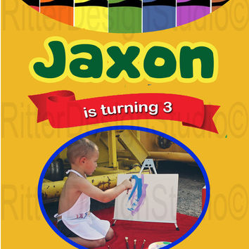 Crayon / Crayola Art Birthday Invitation - Printable