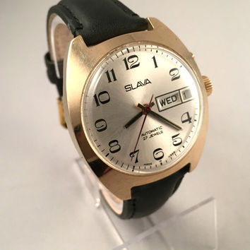 """Vintage men's watch """"SLAVA AUTOMATIC"""" 27 jewels movement, double calendar!!! Comes with brand new leather band."""