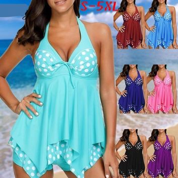 Polka Dots Plus Size Swimwear Swimsuit Two Piece Push Up Halter Tankini Bathing Suit