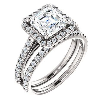 Asscher Moissanite Diamond Accent Ice Halo Cathedral Ring