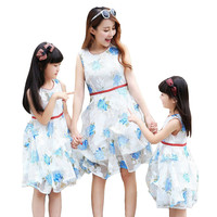 Mother Daughter Dresses Matching Outfit New Mother and Daughter Clothes Dresses Party 2016 Summer Style Mommy and Me Clothes