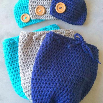Swaddle Sack - Newborn - Photo Prop - Crochet Photo Prop - Crochet Baby Sack - Sack - Beanie - Baby Beanie - Crochet - Crochet Baby Beanie