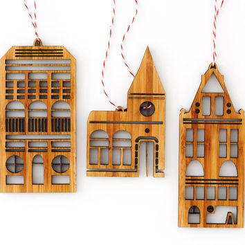 Amsterdam Row House Bamboo Christmas Tree Ornaments (set of 3)