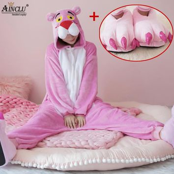 Cute Pink Panther Woman Onesuit Hooded Cosplay Onesuits With Shoes For Adult Kids One-Piece Animal Pajamas Long Sleeve Sleepwear