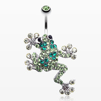 Sparkle Leaping Frog Belly Button Ring