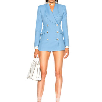 Alessandra Rich Wool Double Breasted Blazer in Sky Blue | FWRD