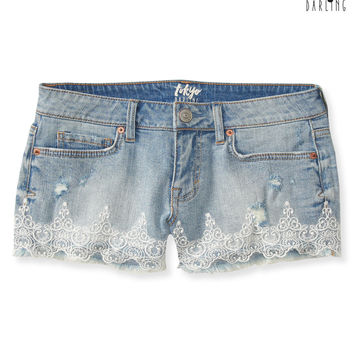 Tokyo Darling High-Waisted Lace Light Wash Denim Shorty Shorts